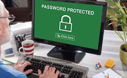 Password protected concept on a computer Royalty Free Stock Images