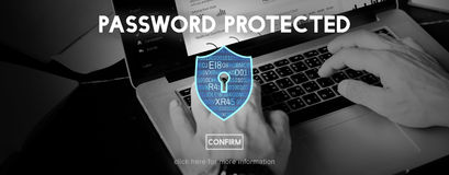 Password Protected Network Security Protection Concept Stock Image