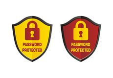 Password protected - shield signs. Password protected suitable for security signs Royalty Free Stock Photography