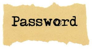 Password on Recycled paper. Stock Image