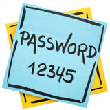 Password reminder on sticky note royalty free stock image