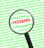 PASSWORD revealed in computer code through a magnifying glass Royalty Free Stock Photo