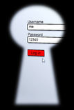 Password Security. Viewed through a key hole Royalty Free Stock Photos