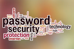 Password security word cloud with abstract background Royalty Free Stock Photos