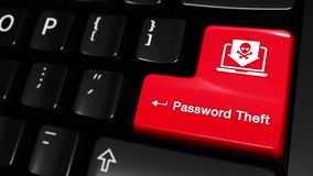 109. Password Theft Moving Motion On Computer Keyboard Button. 109. Password Theft Moving Motion On Red Enter Button On Modern Computer Keyboard with Text and