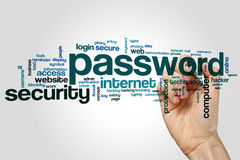 Password word cloud. Concept on grey background Royalty Free Stock Photo