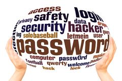 Password word cloud and hand with marker concept. On white background vector illustration