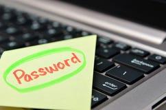 Password written on yellow note Stock Image