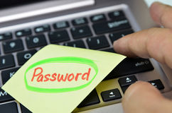Password written on yellow note Royalty Free Stock Images