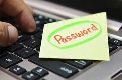Password written on yellow note Royalty Free Stock Photo