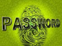 Passwort-Fingerabdruck zeigt Klotz Ins und zugängliches an Stockbilder