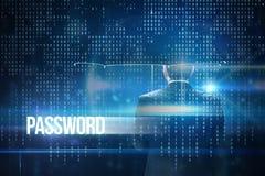 Passwort gegen blaue Technologieschnittstelle mit binär Code Stockfotografie