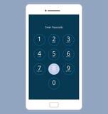 Passwort-Verschluss-Schirm Smartphones numerischer, Vektor-Illustrations-Satz Lizenzfreie Stockbilder