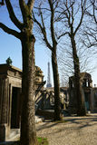 Passy Cemetery and Eiffel Tower Stock Images