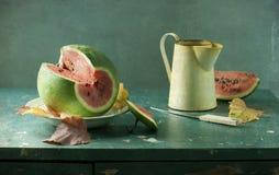 Pastèque et cruche photographie stock libre de droits