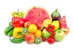 Pastèque et une série de fruits et légumes Photographie stock libre de droits