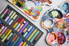 Pastéis coloridos cor pastel e paleta com pinturas criação Imagem de Stock Royalty Free
