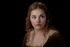 From the past. Renaissance style girl portrait like a panting Stock Image