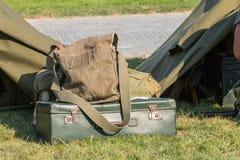 Past bagaż na pokazie w rekonstruującym militarnym obozie Obraz Royalty Free