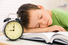 Past bedtime for little schoolboy Royalty Free Stock Photos
