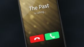 The Past is Calling. Incoming call from The Past on a smartphone royalty free stock image