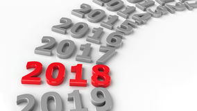 2018 past circle. 2018 past in the circle represents the new year 2018, three-dimensional rendering, 3D illustration Royalty Free Stock Photos