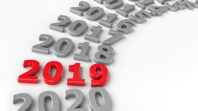 2019 past circle. 2019 past in the circle represents the new year 2019, three-dimensional rendering, 3D illustration royalty free illustration