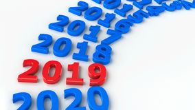 2019 past circle #2. 2019 past in the circle represents the new year 2019, three-dimensional rendering, 3D illustration royalty free illustration