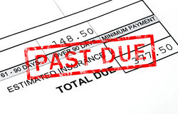 Past Due. Stamp on a bill statement Royalty Free Stock Image