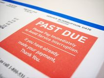 Past Due Notice. A past due notice of a bill Stock Photography