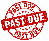 Past due red grunge round vintage stamp Royalty Free Stock Photography
