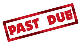 Past Due Stamp 001 - Red Color - White Background. High Resolution royalty free illustration