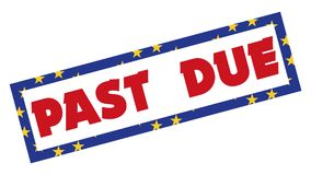 Past Due Stamp 003 - Red Color - White Background. High Resolution royalty free illustration