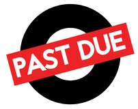 Past due stamp on white. Past due black and red stamp. Attention alert series Royalty Free Illustration