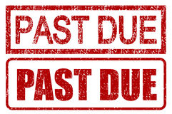 Past Due Stamps. With grunge style isolated over white Stock Photos