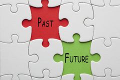 Past Future Concept. Text on colorful pieces paper puzzle. Business concept royalty free stock image