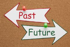 Past Future Concept. Past and Future words on paper arrow pinned on cork board. Business Concept stock images