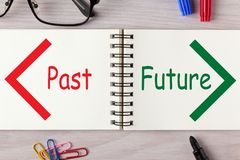Past Future Concept. Past and Future words written on open spiral notebook and various stationery. Business Concept royalty free stock image