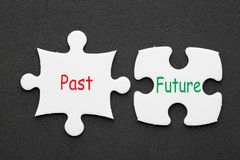 Past Future Concept. Past and Future written in 2 pieces paper puzzle on black background. Business concept stock photos