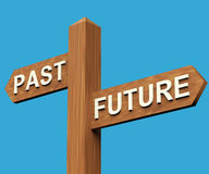 Past Or Future Directions On A Signpost. Past Or Future Directions On A Wooden Signpost Stock Photo