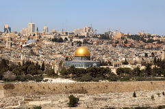 Past and future  of the eternal Jerusalem. Panoramic view of old and modern Great Jerusalem, Israel Royalty Free Stock Photography