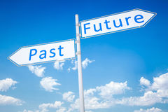 Past future. An image of a typical road sign arrow past future Stock Photos