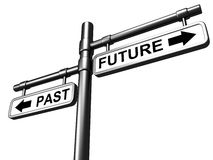 PAST and FUTURE road sign. Pointing in opposite directions Stock Image