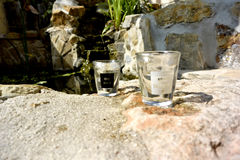 Past and future Shot glasses.. black and white Stock Photography