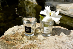 Past and future Shot glasses.. black and white Stock Photos