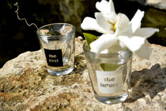 Past and future Shot glasses.. black and white Royalty Free Stock Images