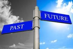 Past and future signpost. With black and white and colour sky background pointing in opposite directions Stock Photo