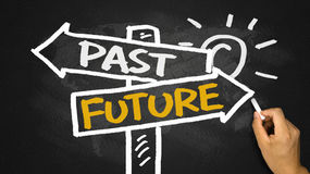 Past or future on signpost hand drawing on blackboard Royalty Free Stock Image