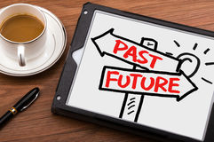 Past or future on signpost hand drawing on tablet pc Stock Image