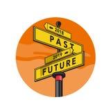 Past 2018 and Future 2019 Signpost Retro vector illustration